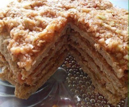 Овсяно-яблочный торт без муки