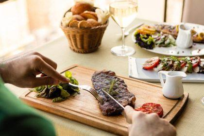 М'ясний асортимент в ресторанах Києва: віденський шніцель, стейк, бефстроганов, люля-кебаб, біфштекс